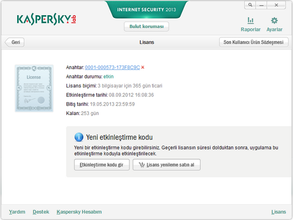 Kaspersky Internet Security + Antivirus 2014 Güncel Serial Key