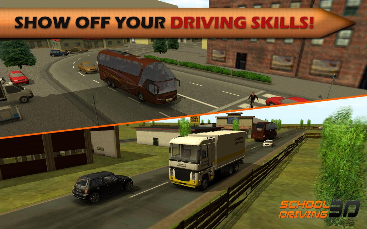 driving to school School driving 3d is an exciting game where you can learn the road rules and prove that you can drive a car in a real world enviroment school driving 3d is a realistic simulator that allows you to choose between different cars, buses and trucks.