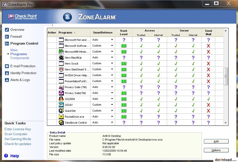 ZoneAlarm Pro Firewall 2010 download from Extabit, Rapidshare.