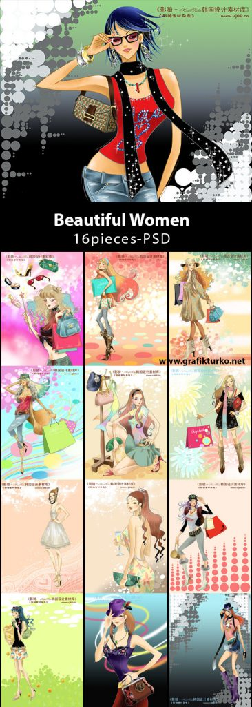 a04beautiful_women16pieces-psd